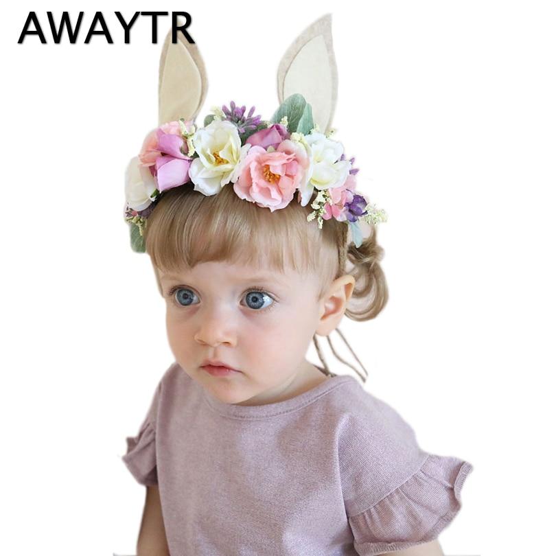 AWAYTR 2019 Summer New Children Flower Crown Rabbit Ears Hair Band Garlands Simulation Flower Seaside Girls Hair Accessories