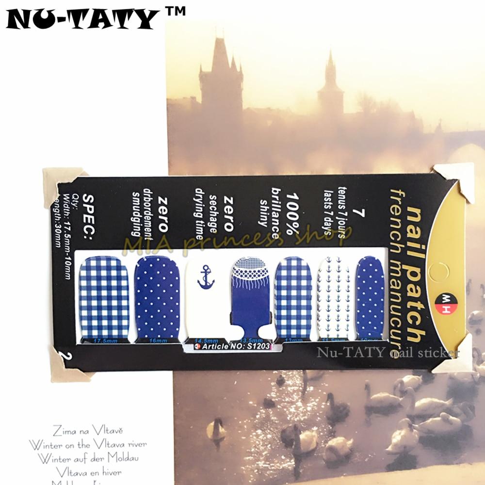 Nu-30 TATY estilo Wraps Unhas Adesivos, marinha Marinha Projetos Decalque Prego Gel Polonês Francês Remendo Manicure Ferramentas de Maquiagem À Prova D Água