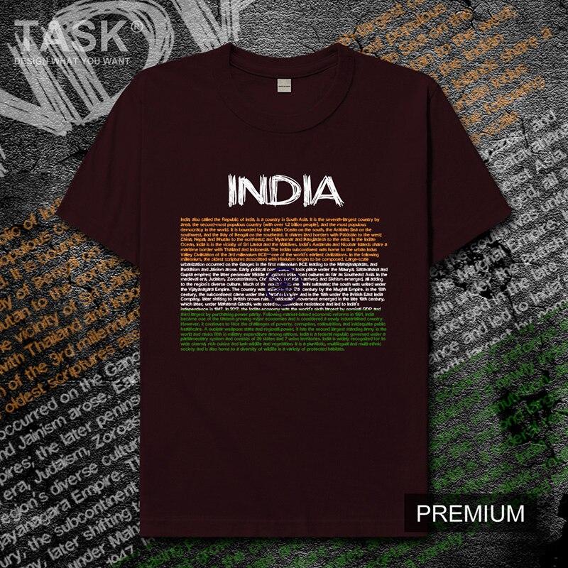 República de la India IND Camiseta Hombre Camisetas país bandera India nuevos Tops Camiseta de manga corta jerseys deportes algodón de moda