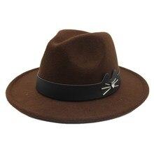 OZyc kobiety mężczyźni kapelusz Fedora kapelusz na zimę jesień elegancka dama z wełny szerokie rondo Jazz kościół Chapeu Feminino Sombrero Cap rozmiar 56-58CM