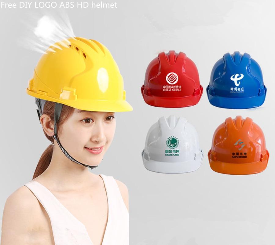 Three Ribs High Strength Helmet Site ABS Labor Insurance Anti-smashing Construction Engineering Safety Breathable Cap DIY LOGO F