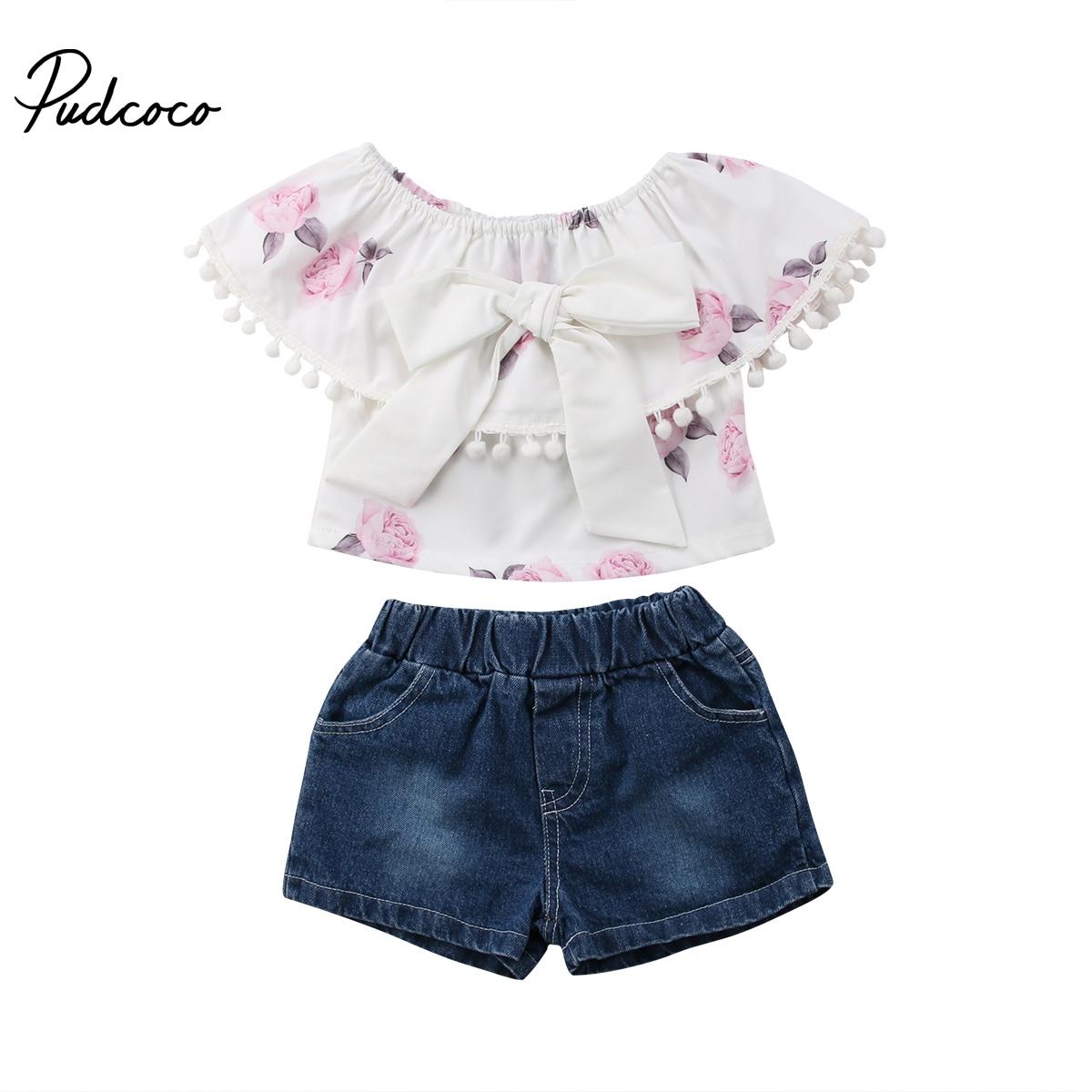 Neugeborenen Baby Mädchen Kleidung Kurzarm Oansatz Quaste Tops + hosen Leggings Outfits Set 1-6 Jahre