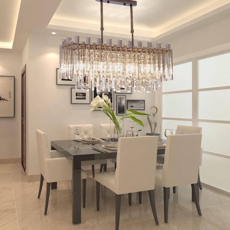 الحديثة الثريا المطبخ مستطيل واضح كريستال يعتم مصباح معلق لغرفة المعيشة LED الثريات إضاءة داخلية