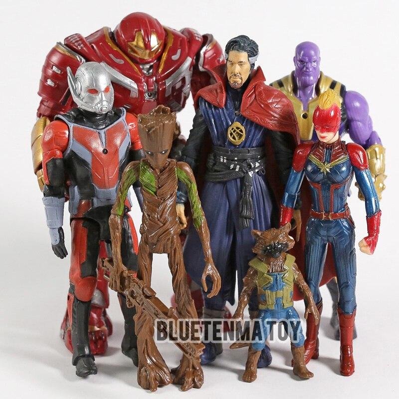 7 pçs/set 4 Marvel Avengers Hulk Homem Árvore Tirano Capitão Spiderman De Surpresa Surpresa Defensiva FigureToys Ação Figuras Anime