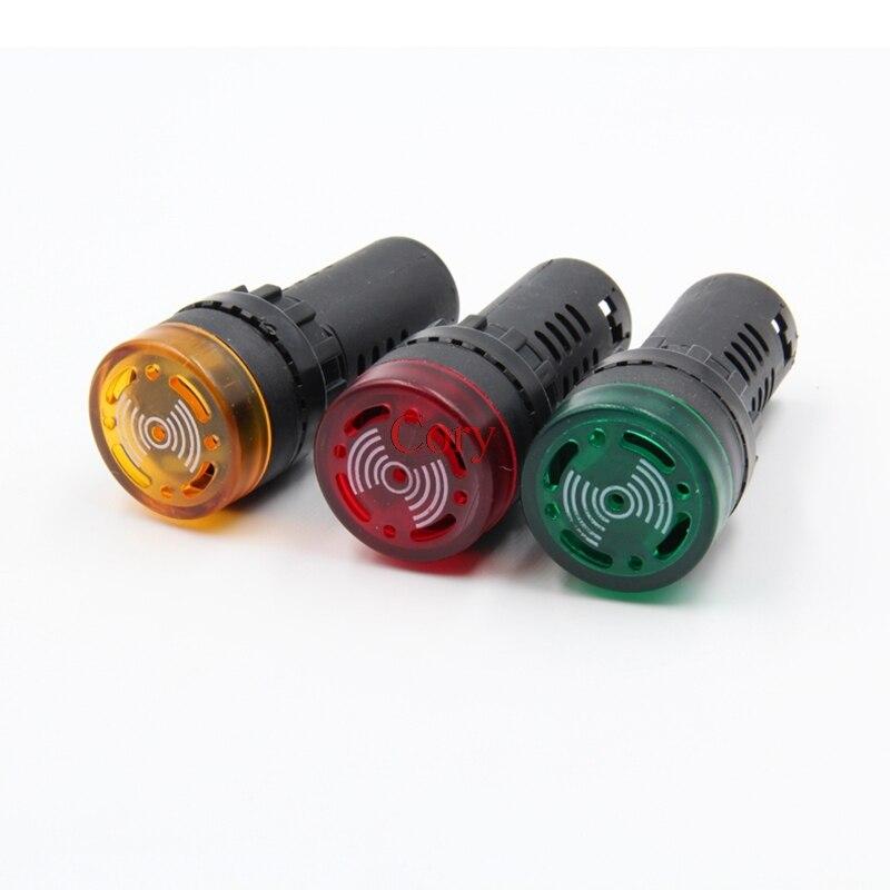 Panel de montaje de 22mm, indicador led zumbador, luz de flash 12V 24V 110V 220V, sonido intermitente CZYC 1 unidad