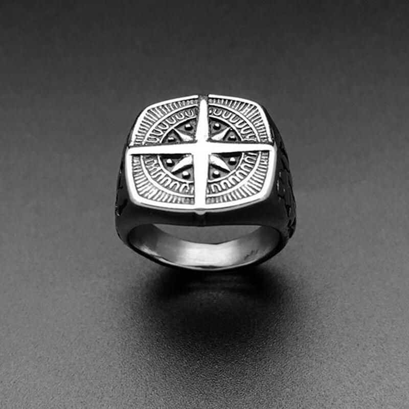 Anillo nuevo de diseño sencillo para hombre, anillo con brújula de plata y acero inoxidable, anillos de banda negra a la moda para mujer y hombre, anillos de navegador, joyería