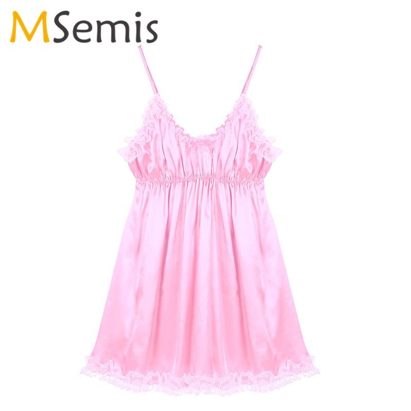 Mens Sissy Dress Lingerie Frilly Ruffled Lace Hem Smooth Soft Satin Dress Adjustable Spaghetti Shoulder Straps Gay Nightwear