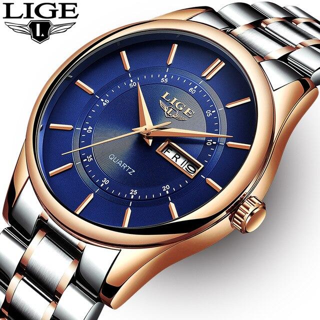 Reloj LIGE para Hombre, 30m, resistente al agua, de lujo, de acero, reloj de fecha y semana, Relojes deportivos informales, Relojes de pulsera para Hombre