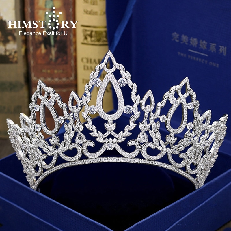 Himstory Gorgeous Large Full CZ Tiaras Wedding Bridal Crowns Clear Cubic Zircon Brides Headband Pageant Party Hair Accesories
