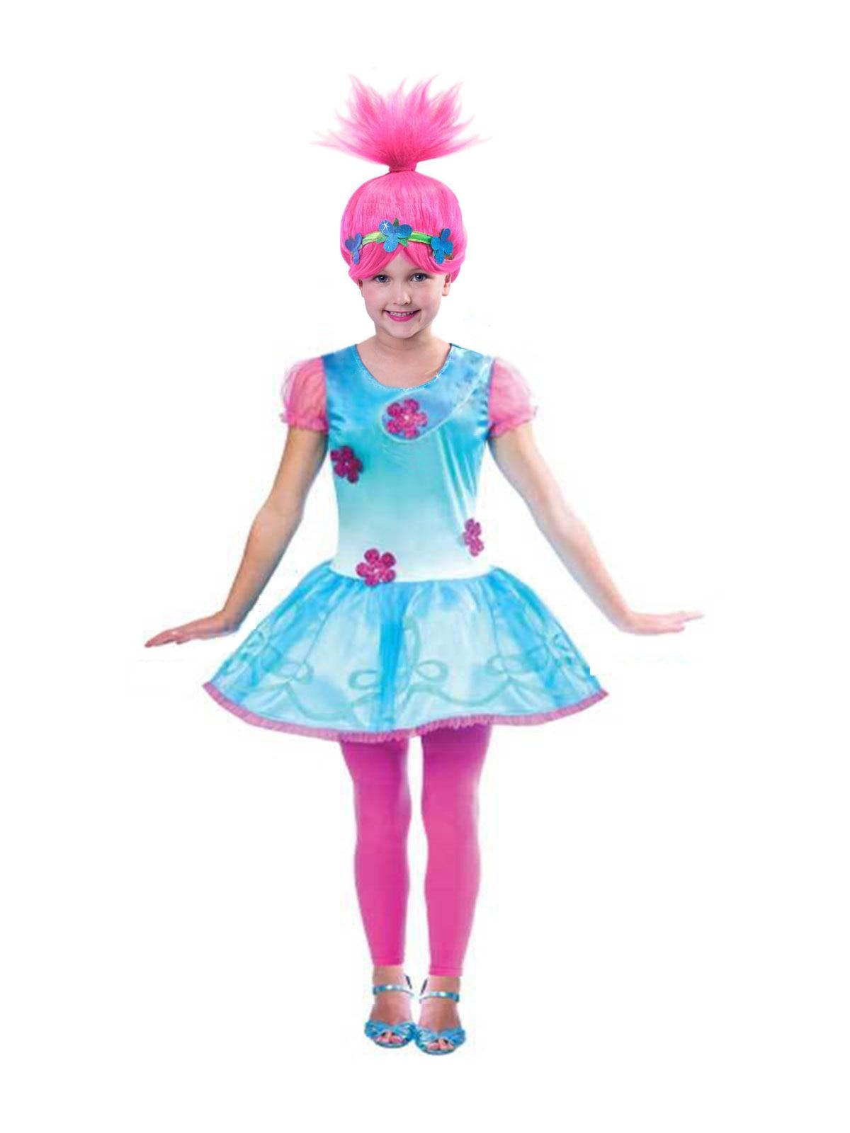 2018 ano novo trolls papoula cosplay trajes vestidos para meninas bobo vestido de natal roupas da menina do bebê crianças fantasia vestido & peruca conjunto