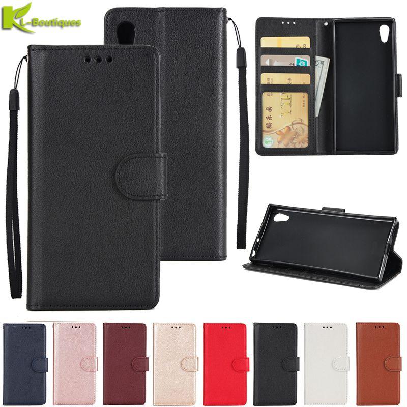 Funda de cuero para Sony Xperia XA1 XA2 Ultra XZ XZ2 Compact L2 funda estilo clásico Flip Wallet Phone Cases mujeres hombres