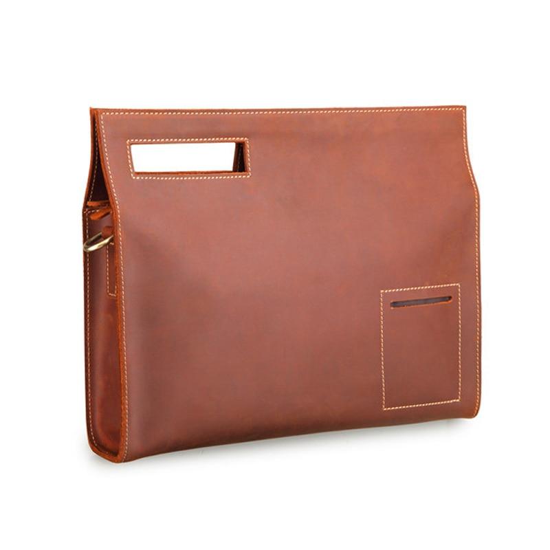 2018 New Retro Genuine Leather Mens Bag Crazy Horse File Briefcase Men Shoulder Messenger Fashion Laptop Handbags