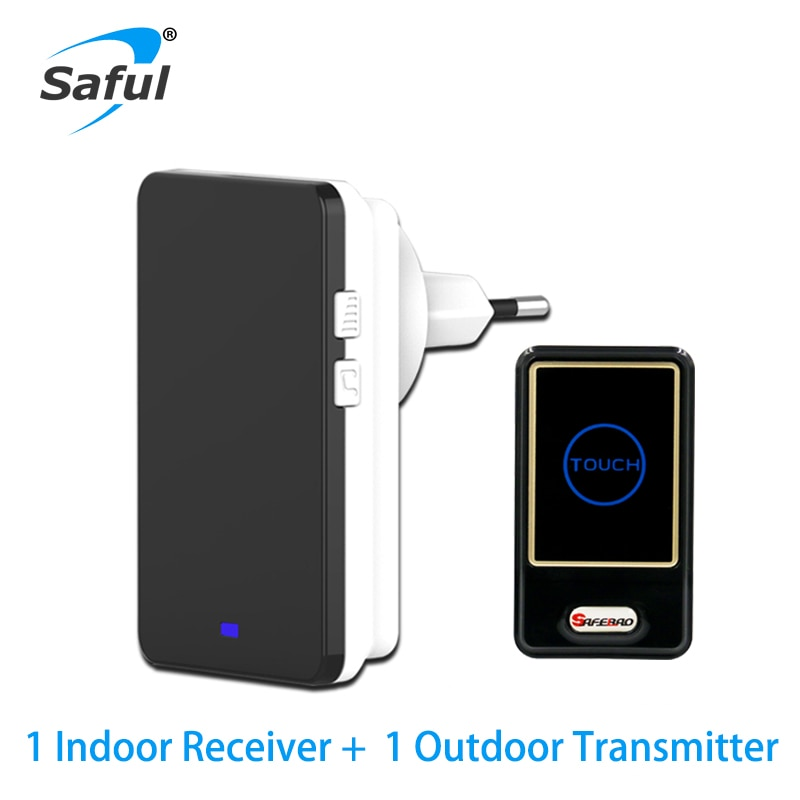 Saful Timbre Inalámbrico impermeable con 28 tonos de llamada EU/US/AU/UK enchufe 1 transmisor al aire libre + 1 receptor interior
