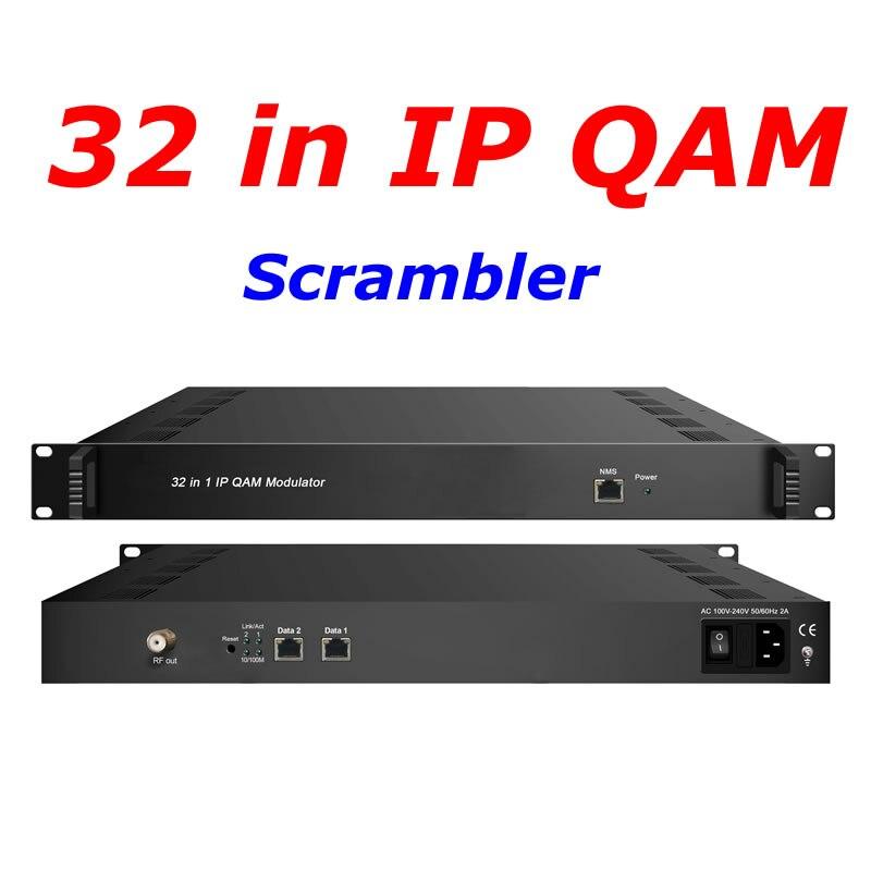 IP QAM modulador con multiplexor Scrambler TS IP/multicast 2 gigabit en 32 * DVB-C RF out QAM modulador NDS3332