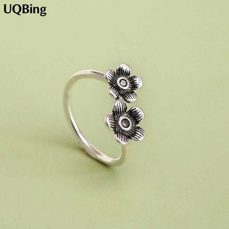 Anillo de Plata de Ley 925 pura de 100%, anillo ajustable a la moda, anillos Vintage para mujer, regalos para novia