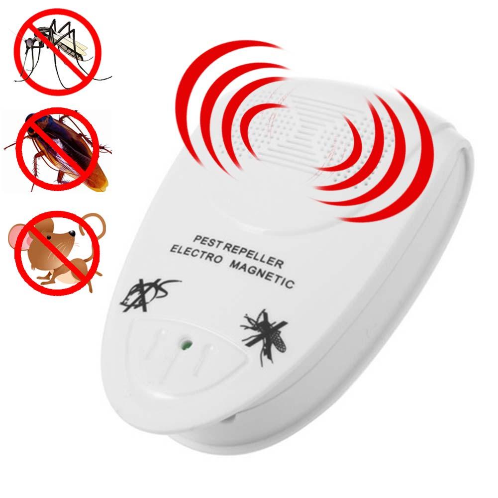 Repelente de insectos electrónico, repelente ultrasónico de ratones, repelente de mosquitos, Mata roedores, plagas, insectos, topos, rechazo 2018