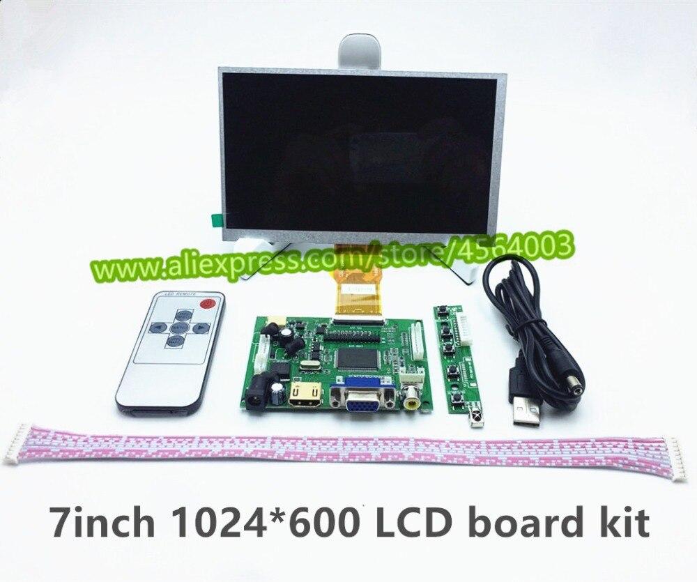 Kit de pantalla de Monitor LCD de 7 pulgadas 1024*600 con tarjeta de memoria HDMI + VGA + 2AV para Raspberry Pi PC Windows 7/8/10