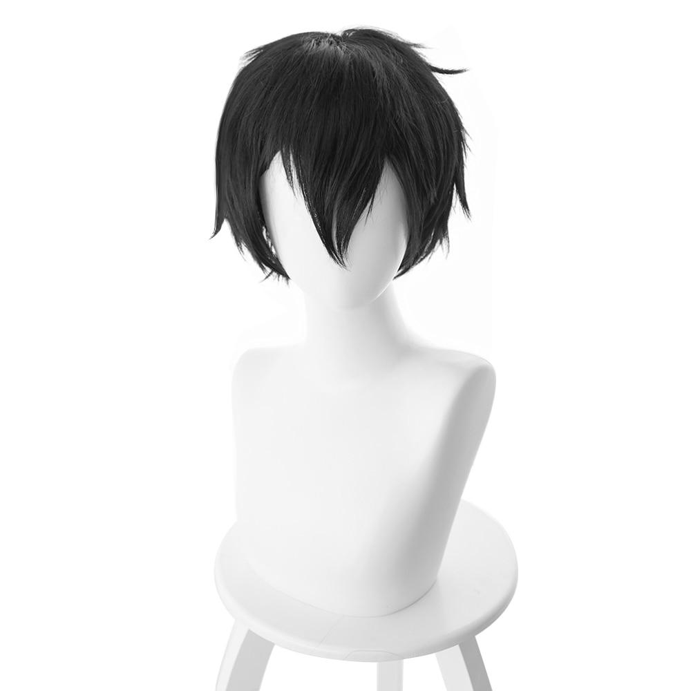 Sword Art Online, disfraz de COSplay de SAO, Kazuto Kirito Kirigaya, peluca de pelo, peluca COSplay de Halloween