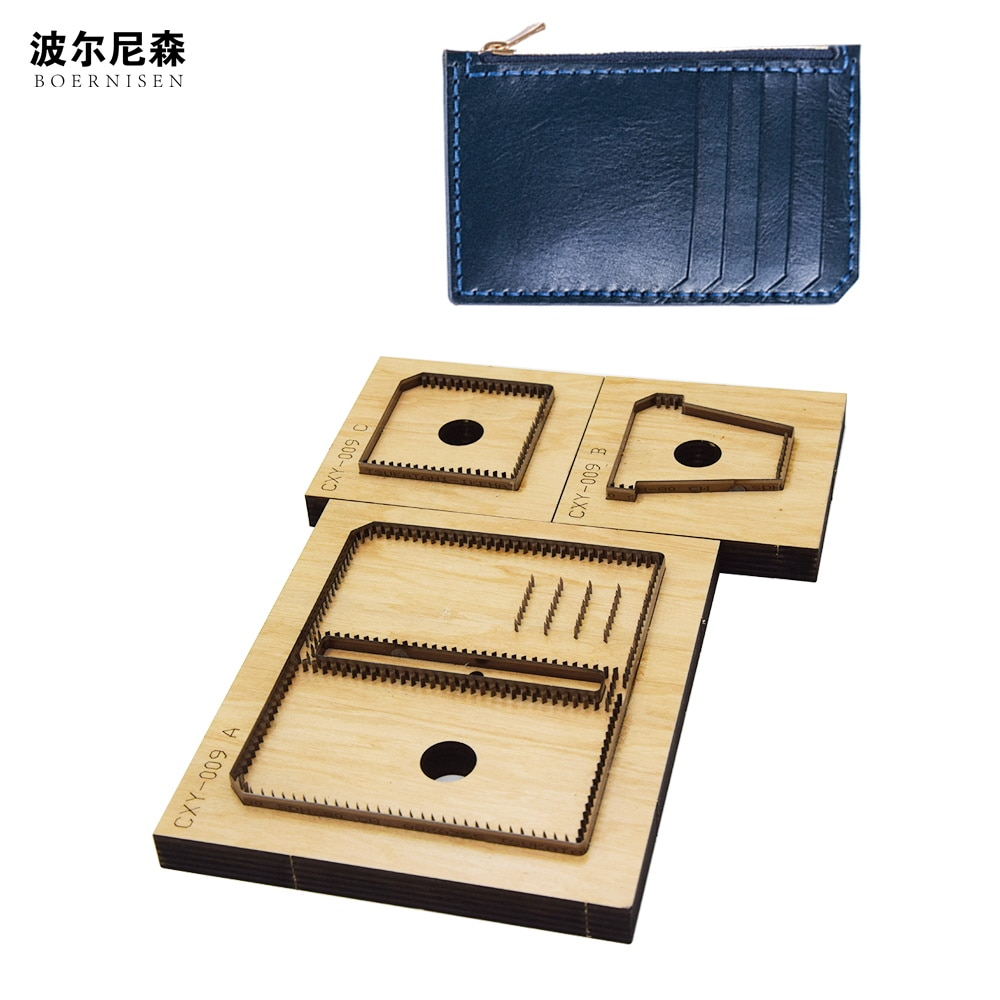 Tarjetero cuchillo billetera larga DIY patrón personalizable de cuero molde para recortar tablero molde cero cartera tarjeta bolsa