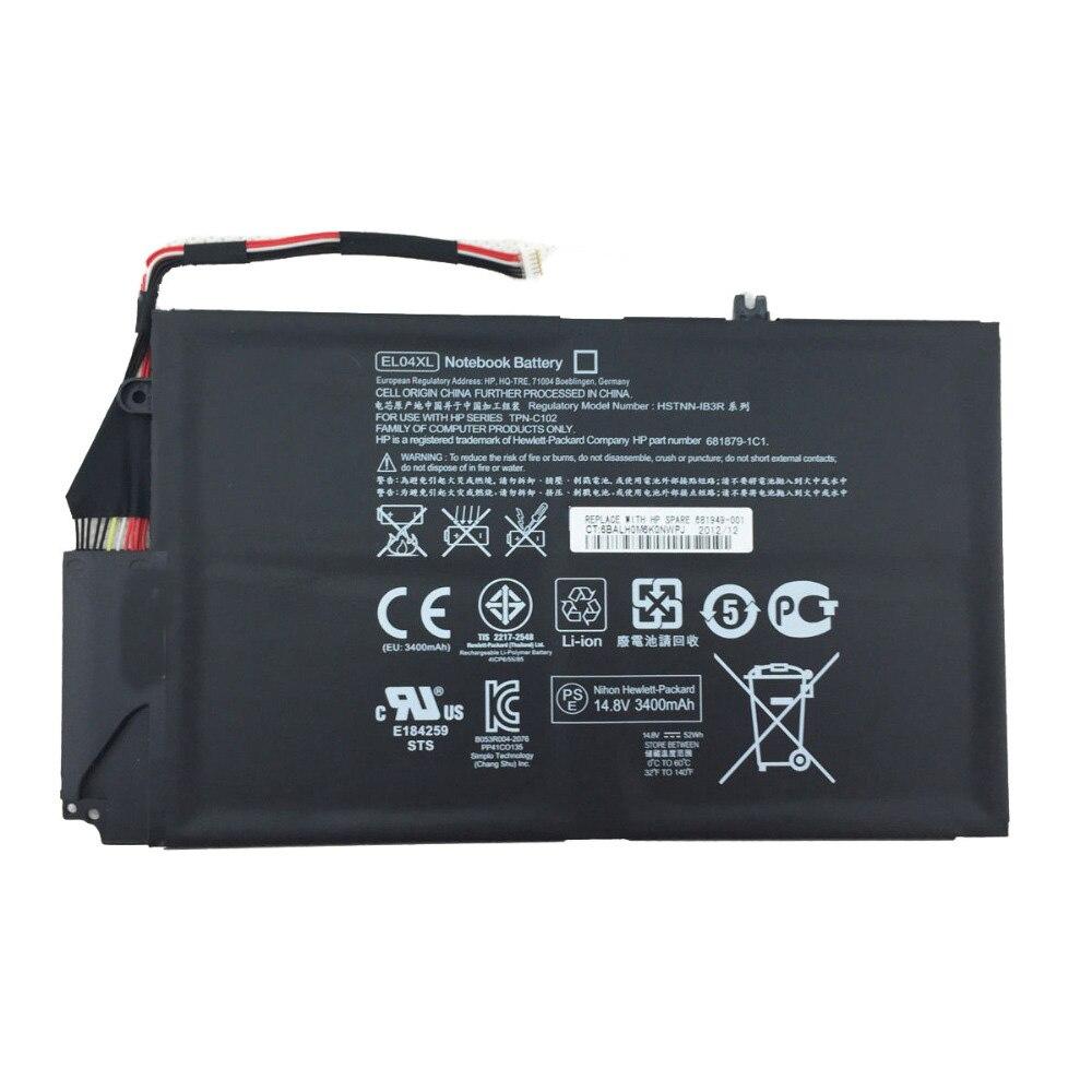 """""""3800mAh para batería de ordenador portátil hp EL04 EL04XL HSTNN-IB3R HSTNN-UB3R TPN-C102 envidia 4-1000sg envidia 4-1000sn 4-1001tx 4-1003tu 4-1007TX"""