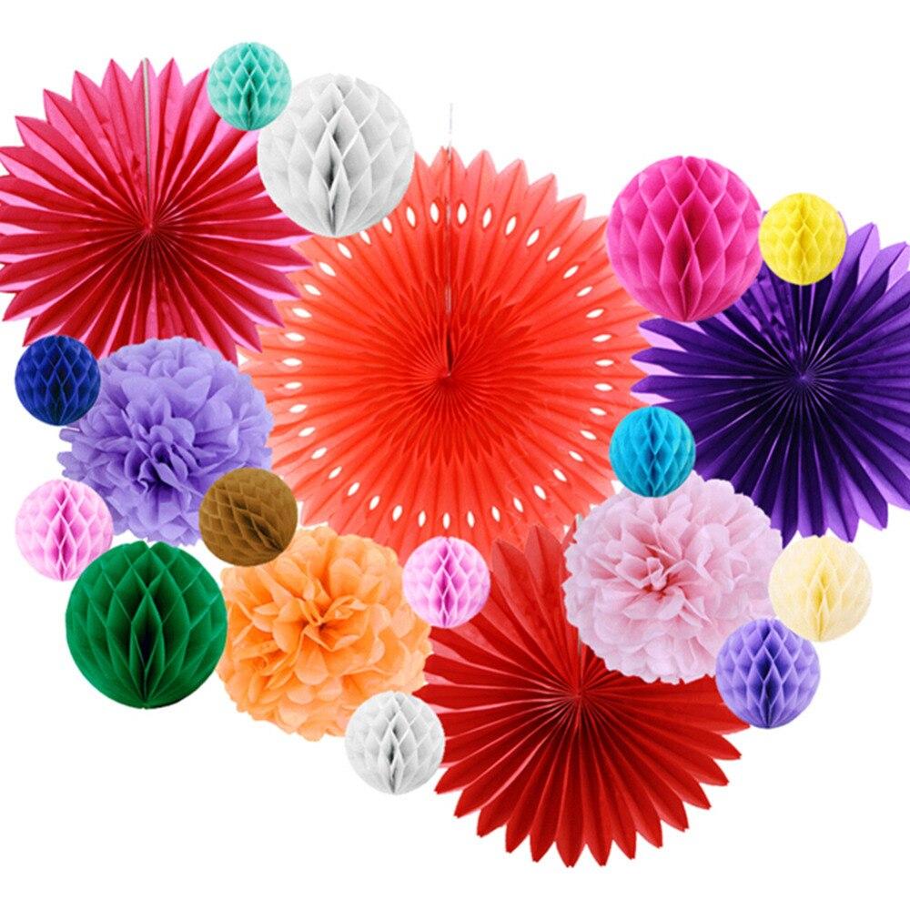 Mexikanische Party Fiesta Dekorationen 20 teile/satz Tissue Papier Fans Waben Bälle Für Hochzeit Geburtstag Veranstaltungen Festival Partei Liefert