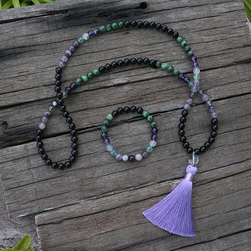 100% 8mm Natural Stone Beads,Fluorite,Amethyst,Ruby Zoisite,Onyx,JaPaMala Sets,Yoga,Spiritual Jewelry,Meditation, 108 Mala Beads