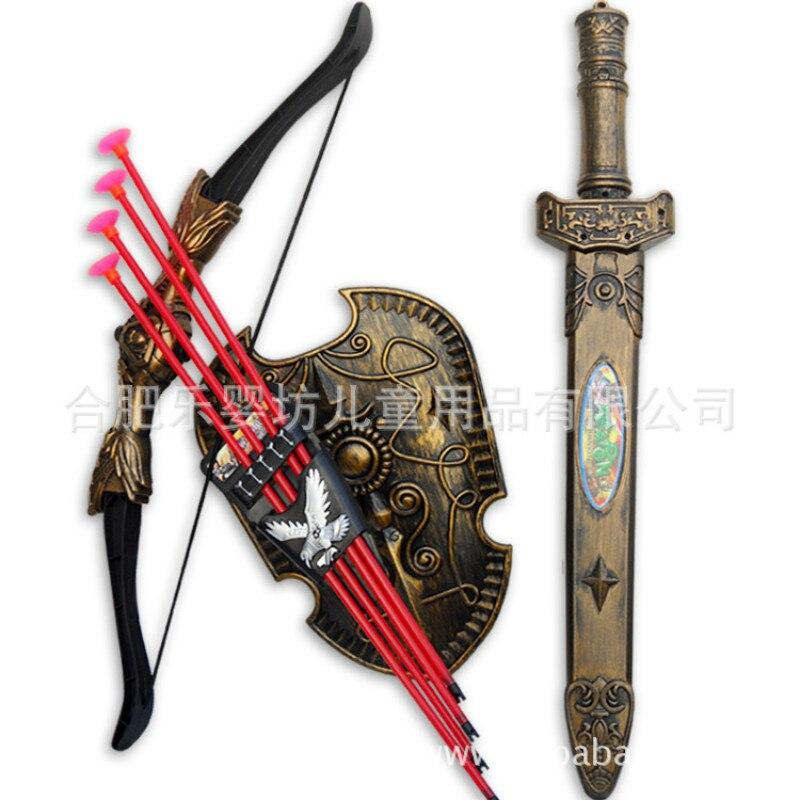 Juguetes deportivos para niños espadas escudo arco y flecha espada escudo ventosa simulación tiro con arco espadas de plástico juego de Juguetes