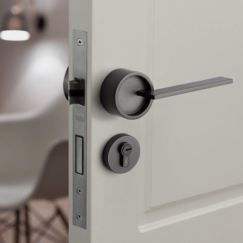 Cerradura de manija dorada americana/Puerta del dormitorio, cerradura de seguridad dividida, cerradura silenciosa, muebles de puerta interior, cerradura de manija de puerta