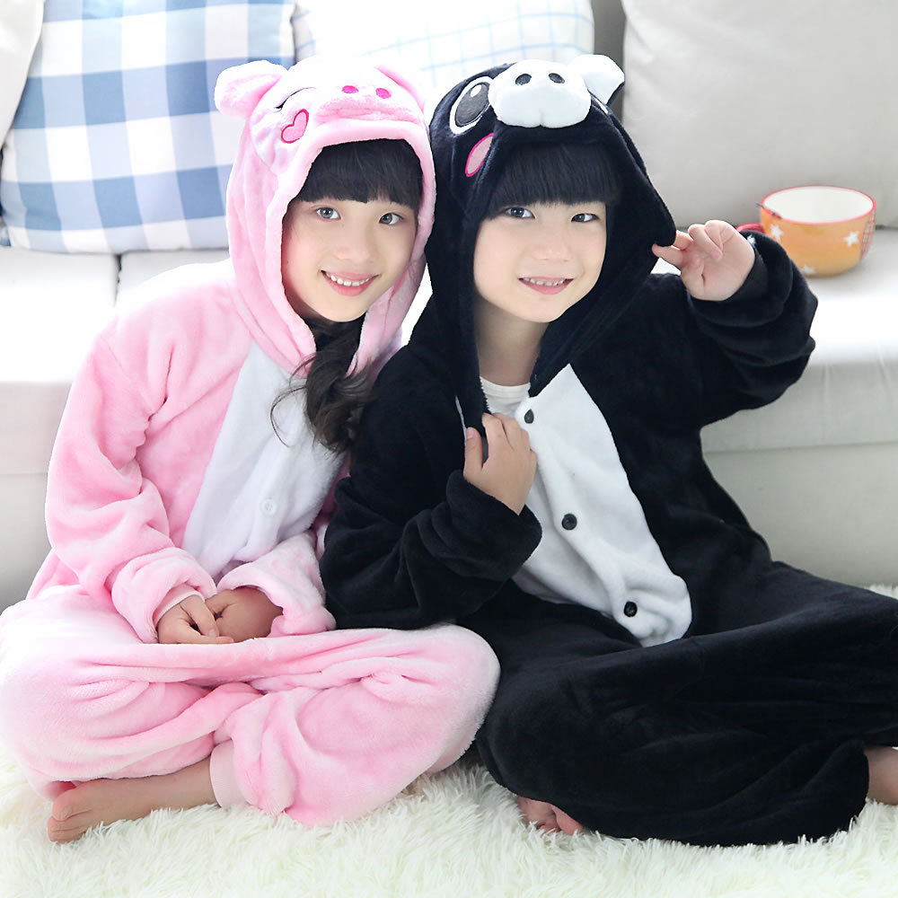 Pijamas cerdito, ropa para niñas, ropa de dormir cálida para invierno, camisón de lana coral, pijamas para niños, pijamas de dibujos animados infantiles STR21