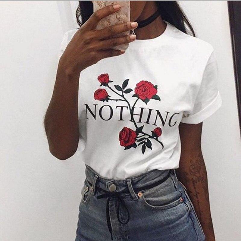 Camiseta estampada con letras Nothing, camiseta Harajuku rosa para mujer, verano 2018, pantalón corto casual, camiseta de manga blanca, camisas grises punk