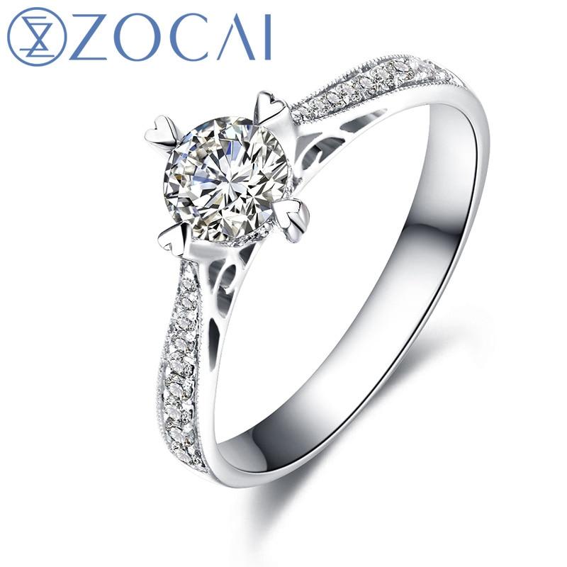ZOCAI Real 0.30 Ct Certified H/VS Main Diamond with 0.19 Ct Side Diamond 18K White Gold W00238
