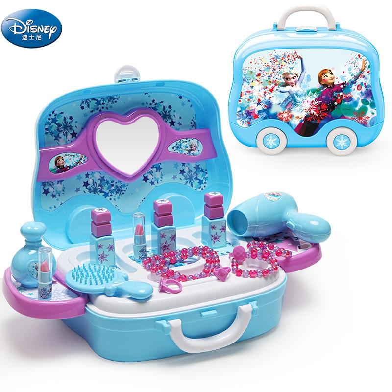 Disney frozen elsa and anna Makeup set  Fashion House Simulation Dresser Toy Beauty pretend play for kids birthday gift недорого