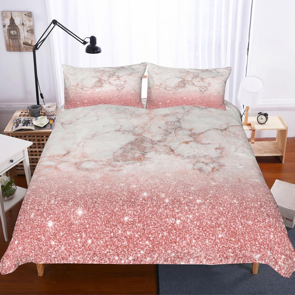 MUSOLEI 3D Bedding Set Pink Rose Gold Marble Texture Bedding Bedroom Duvet Cover Sets
