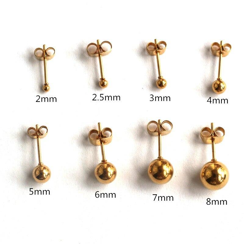 Pendientes de botón con bola pequeños chapados en color titanio dorado para hombres y mujeres de 2mm a 8mm