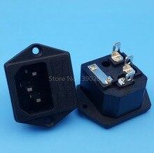 Prise de montage du panneau mâle   10 pièces AC250V/10A IEC320 C14 3Pin, prise de puissance avec porte-fusible