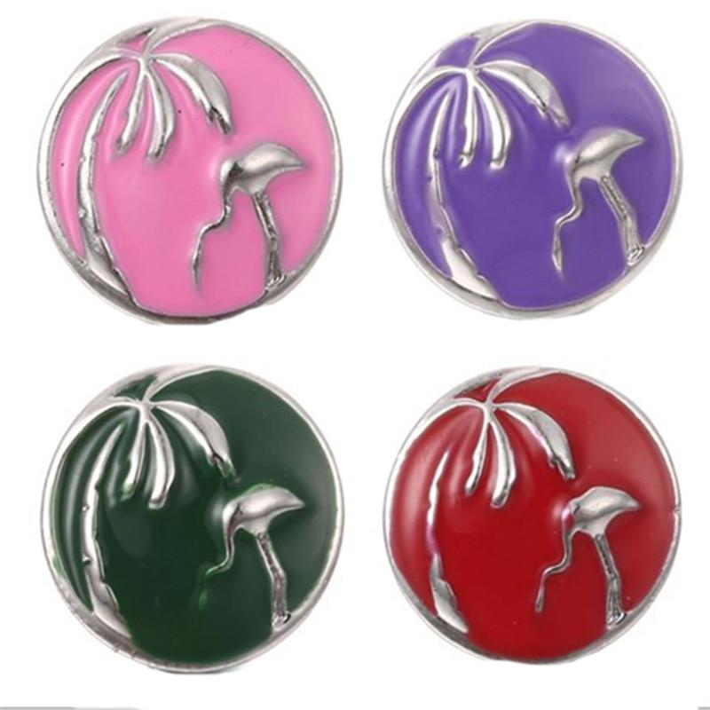 10 teile/los Baum und Flamingo Druckknopf Schmuck Mischfarben Ingwer Metall 18mm Snap Tasten fit Snap Armband Armreifen