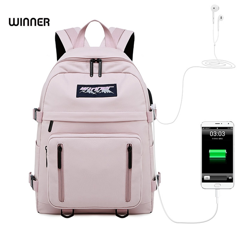 WINNER Solid Color Fashion Waterproof Women Backpack Minimalist USB Charging Laptop Bagpack Anti-theft College Girls Bookbags