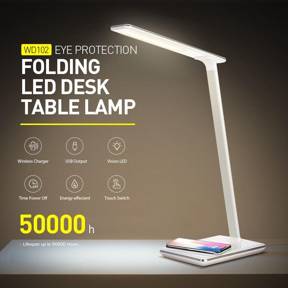 Lámpara de mesa LED Flexible 2019 Original con Sensor táctil, luz de escritorio con 7 niveles de brillo, luz de lectura para dormitorio de 220V