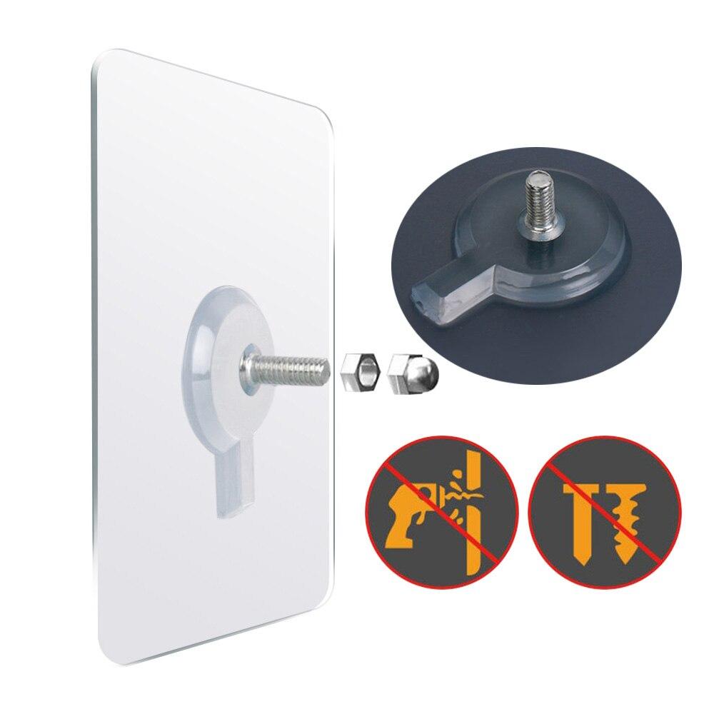 Gancho de pared sin agujeros de 6 uds, de PVC, adhesivo fuerte para uñas, gancho de pared sin agujeros, impermeable, transparente, duradero, gancho de gancho para el baño y la cocina