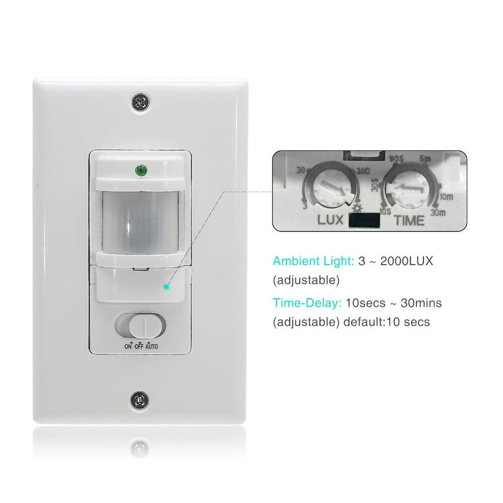 Interruptor de Sensor de movimiento de montaje en pared automático de 110V ~ 220V ON OFF con Sensor infrarrojo PIR interruptor de luz con 9m Max