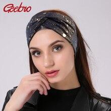Fasce elastiche larghe di colore metallico da donna Geebro fascia lavorata a maglia con turbante annodato a croce per fascia da donna con fiocco avvolgente