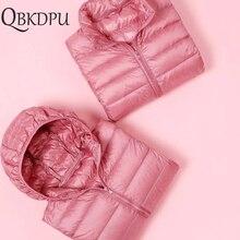 Women Winter Casual Down jacket Plus Size Slim Ultra-light Coat 2019 Autumn Fashion Thin Warm Windproof Parka Pink for girls