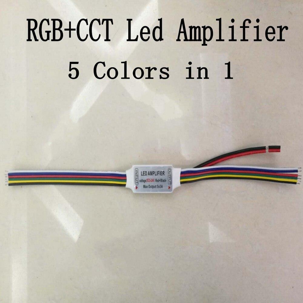 1 шт. 6pin мини RGB + CCT Светодиодная лента усилитель токовый сигнал повторитель DC5-24V 5CH x 3A 15A RGB + цветовая температура Светодиодная лента усилител...