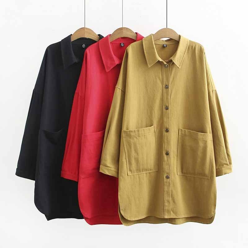 2019 de algodón de primavera camisa de las mujeres de talla grande XL-4XL manga larga Bolsillo grande-breasted blusas femeninas casuales camisas G343