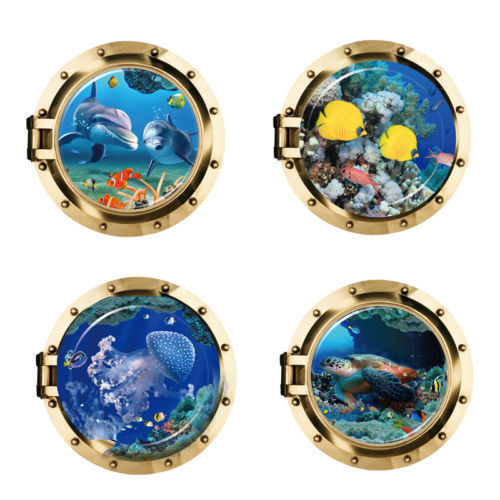 Adorable Vista de animales marinos en 3D, pegatinas de pared extraíbles, Mural de PVC, hogar, sala de estar, decoración de dormitorio para niños