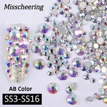 1 Pack AB Farbe Gemischt (SS3-SS16) nail art Strass Silber Flatback Glas Kristall Edelsteine Nicht Hotfix Glitter DIY Nägel Zubehör