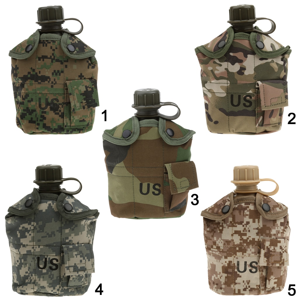 Exterior 1l militar acampada, botella de agua del ejército con bolsa, bolsa de equipo táctico para acampar, senderismo, supervivencia, escalada, accesorios