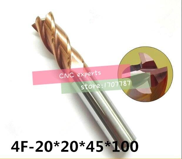 4F-20*20*45*100 HRC60 carboneto, carboneto Praça Flatted End Mills revestimento nano 4 flauta diâmetro 20.0mm, a Espuma, chato Bar, cnc, máquina de