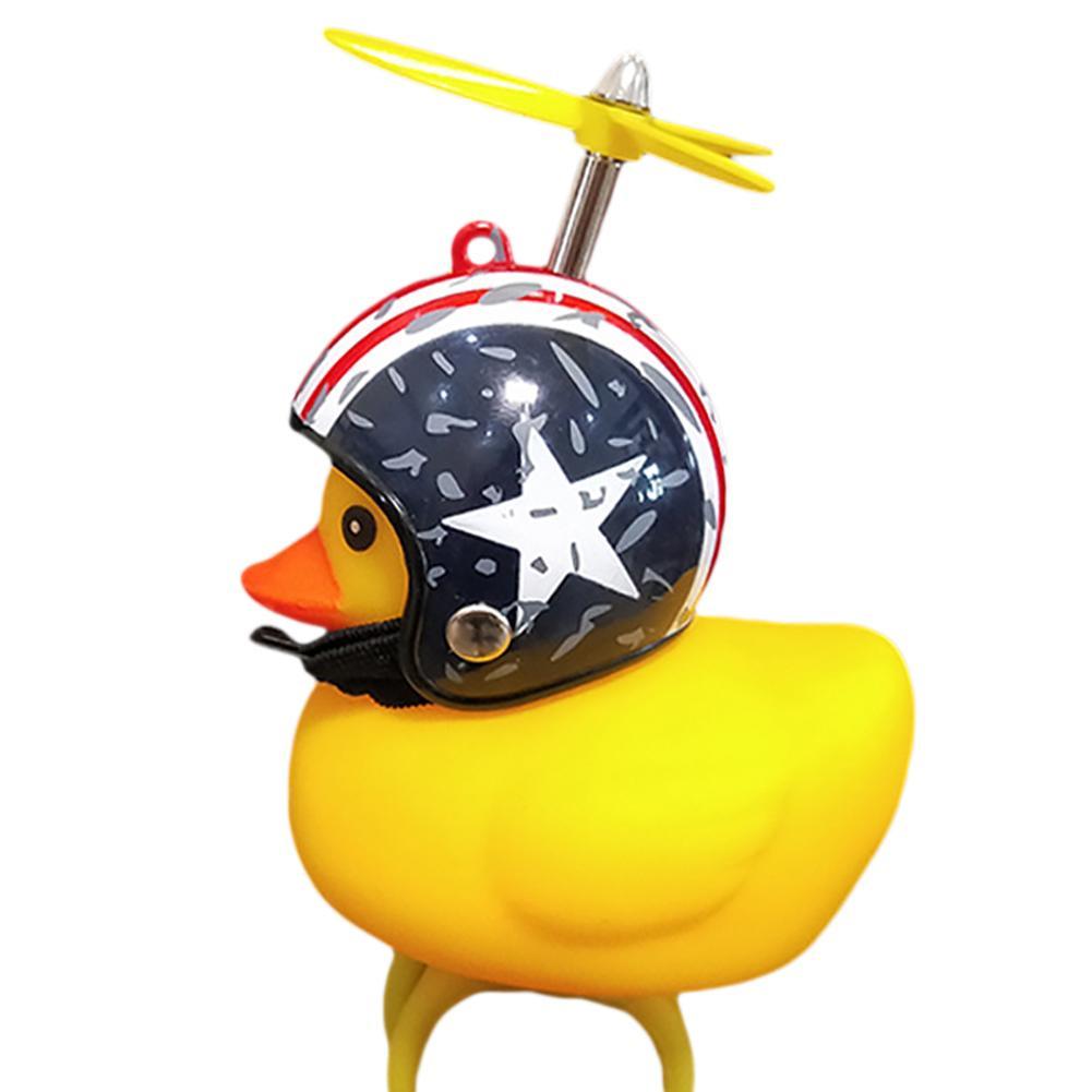 Lumière vélo petit canard jaune avec casque cassé vent canard bambou dragon flyroad vélo moto cloche enfant équitation corne lumière