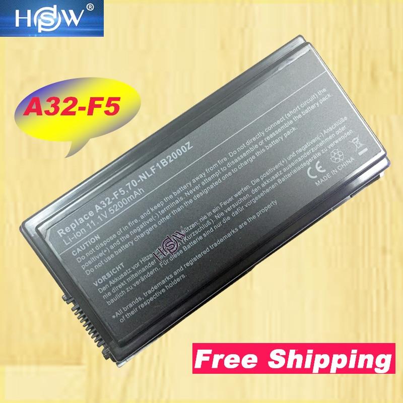 HSW, 6 celdas, batería de portátil para Asus F5 X50SL X50VL X50RL F5VL A32-F5 F5rl, envío rápido